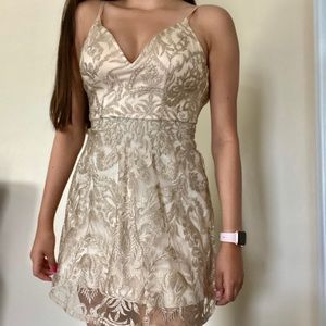 Dresses & Skirts - Nude Dress with Gold Paisley Pattern